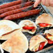 Royalty-Free Stock Photo: Grilled sausages,halloumi cheese with to