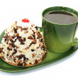 Stock Photo: Cup of teand cake