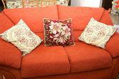Sofa and cashions — Stock Photo