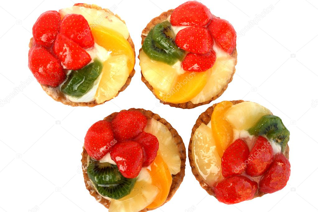 Fruit cakes isolated on white background. — Stock Photo #1026054