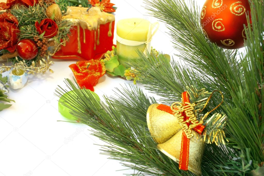 Christmas bells,fir-tree,red ball,candles,flowers. — Stock Photo #1036319