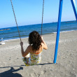 Girl on the swing chair — Stock Photo