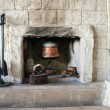 Fire-place in old house — Stock Photo
