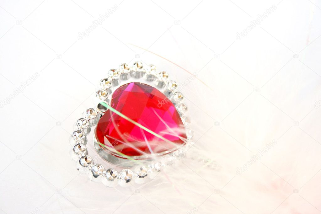 Red heart stone on white background. — Stock Photo #1538177