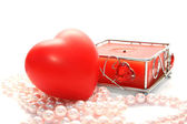 Valentine heart and candle — Stock Photo