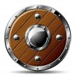 Royalty-Free Stock Vector Image: Round wooden shield - isolated on white