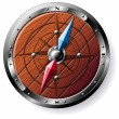 Detailed wooden compass — Vettoriali Stock
