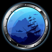 Steel porthole — Stock Vector