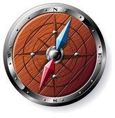Detailed wooden compass — Vettoriale Stock