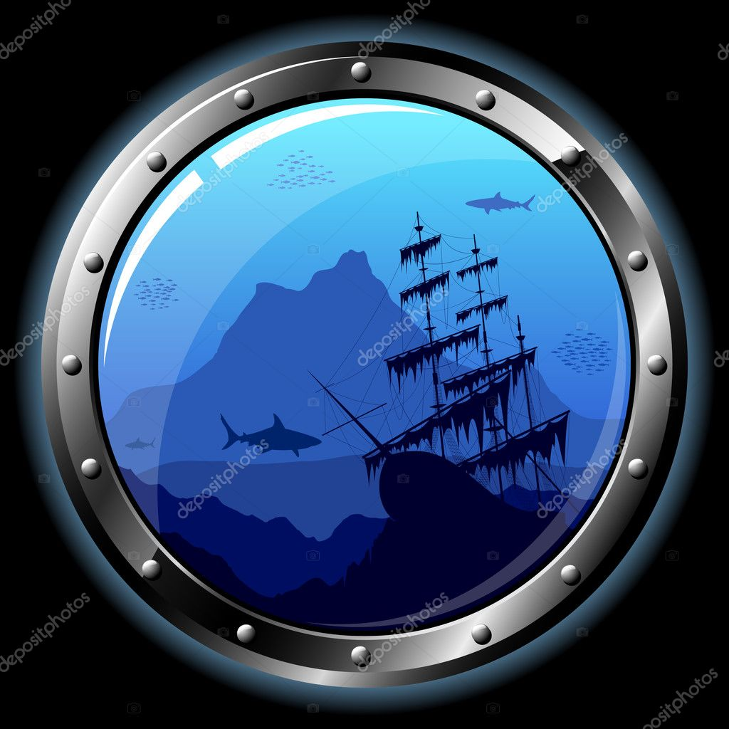 Steel porthole with a view of the underwater world. All transparent elements can be easily removed. — Stock Vector #1006046