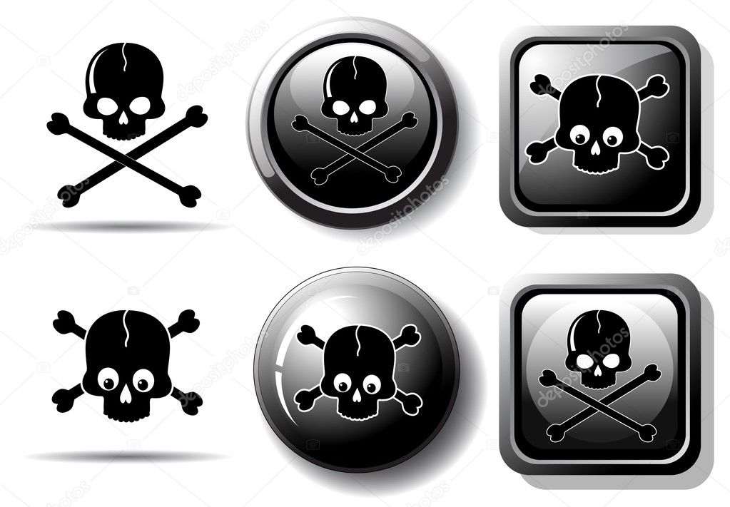 Black buttons with skull sign isolated on white  Stock Vector #1020349