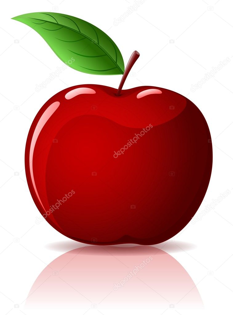 Beautiful red apple with green leaf isolated on white — Stock Vector #1020474