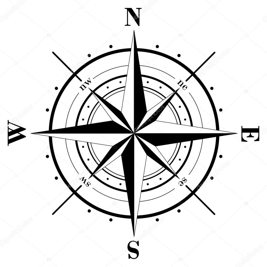 Black compass rose  isolated on whte — Vettoriali Stock  #1021267