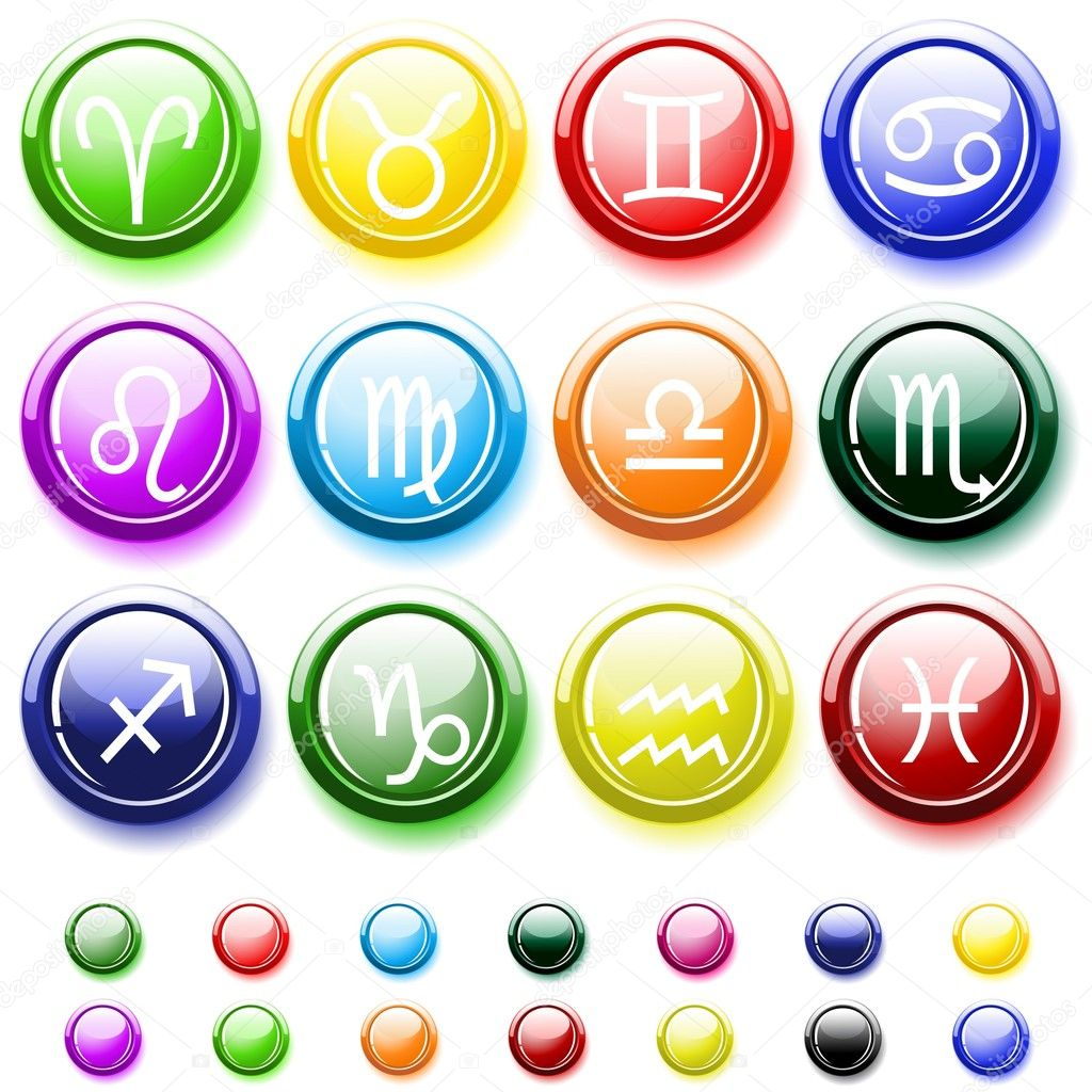 Glossy buttons with zodiac signs isolated on white  Stock Vector #1021316
