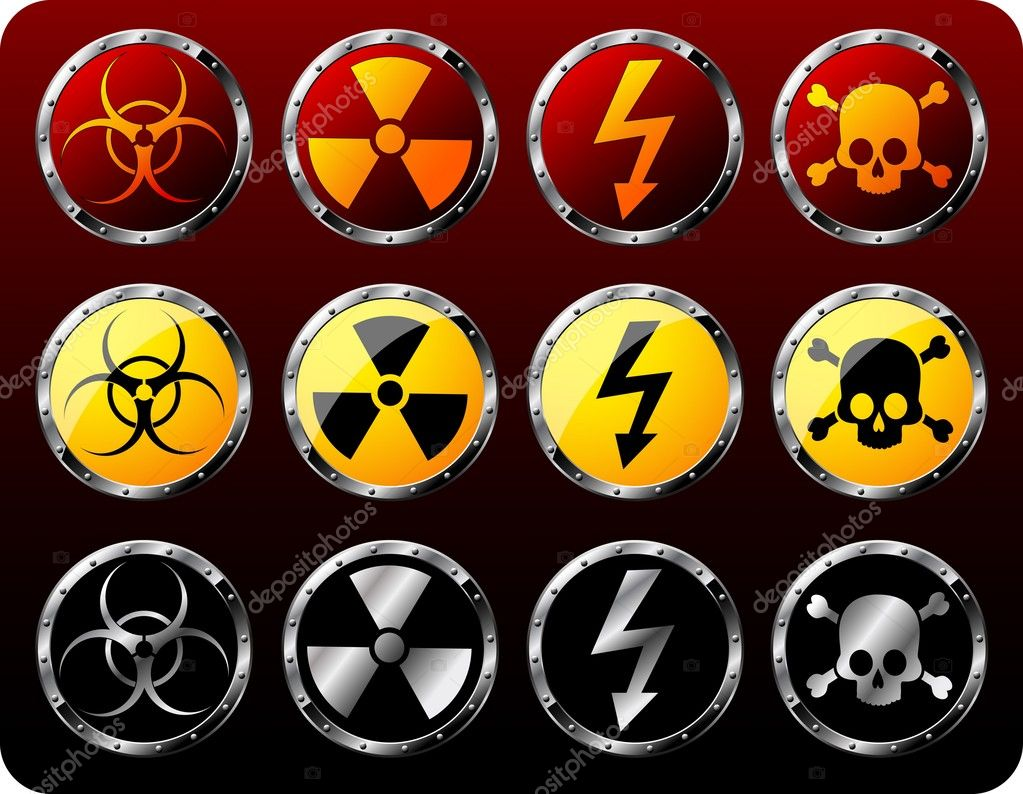 Set of steel shields with warning symbols — Stock Vector #1021475