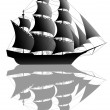 Stock Vector: Black ship