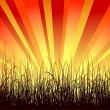 Royalty-Free Stock Vectorielle: Background with grass and sunbeams
