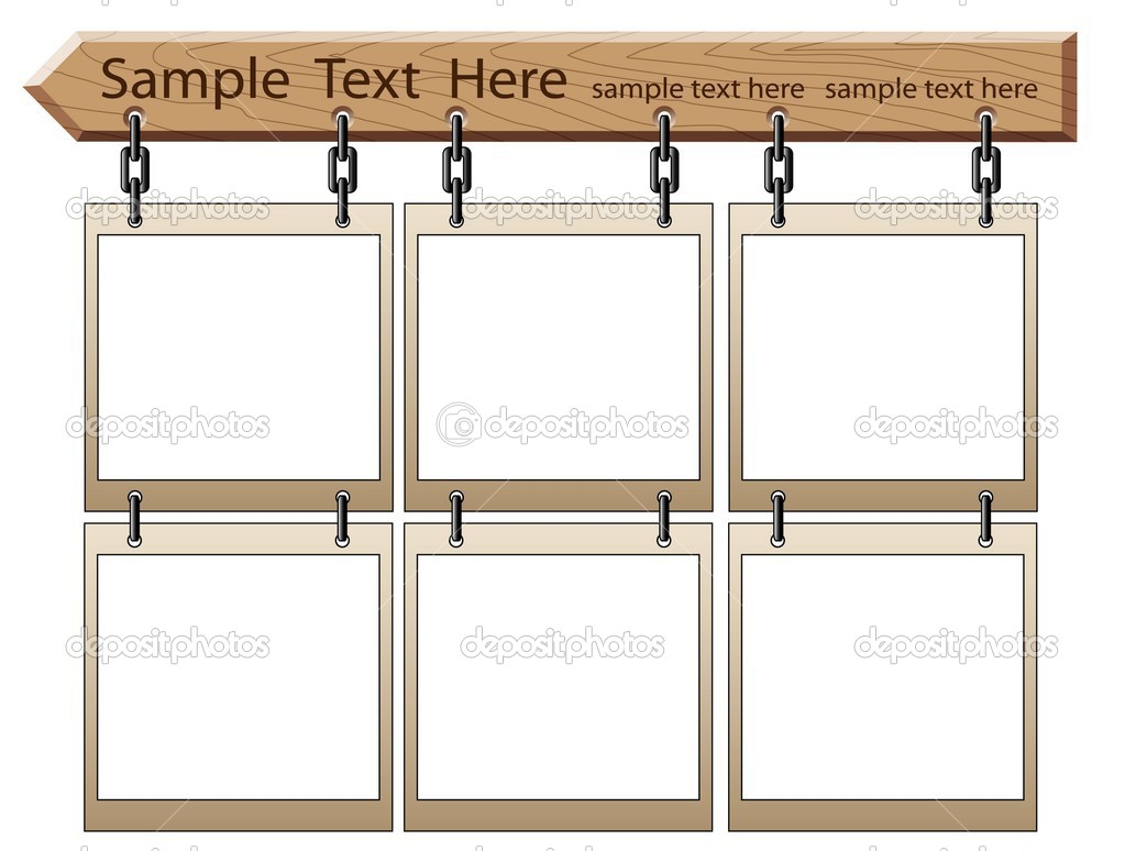 wooden board with empty frames stock vector 1046816