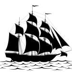 Black ship — Stock Vector