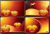 Conjunto de cuatro tarjetas de halloween — Vector de stock