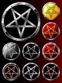 Set of Pentagrams — Stock Vector