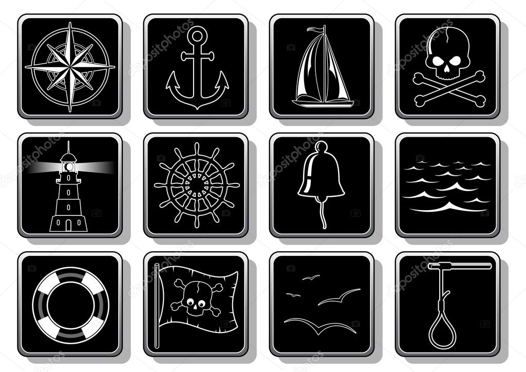Set of nautical symbols  — Stock Vector #1075910