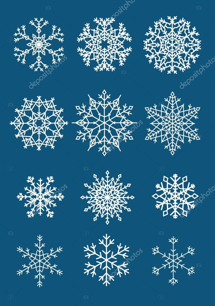 Twelve different isolated white snowflakes on dark background — Stock Vector #1075946
