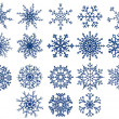 Set of snowflakes isolated on white - Stok Vektör