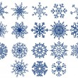 Set of snowflakes isolated on white -  
