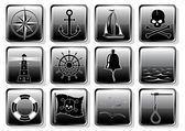 Set of Nautical Icons — Stock Vector