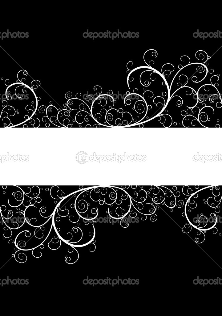 White beautiful floral frame isolated on black  Stock Vector #1086262