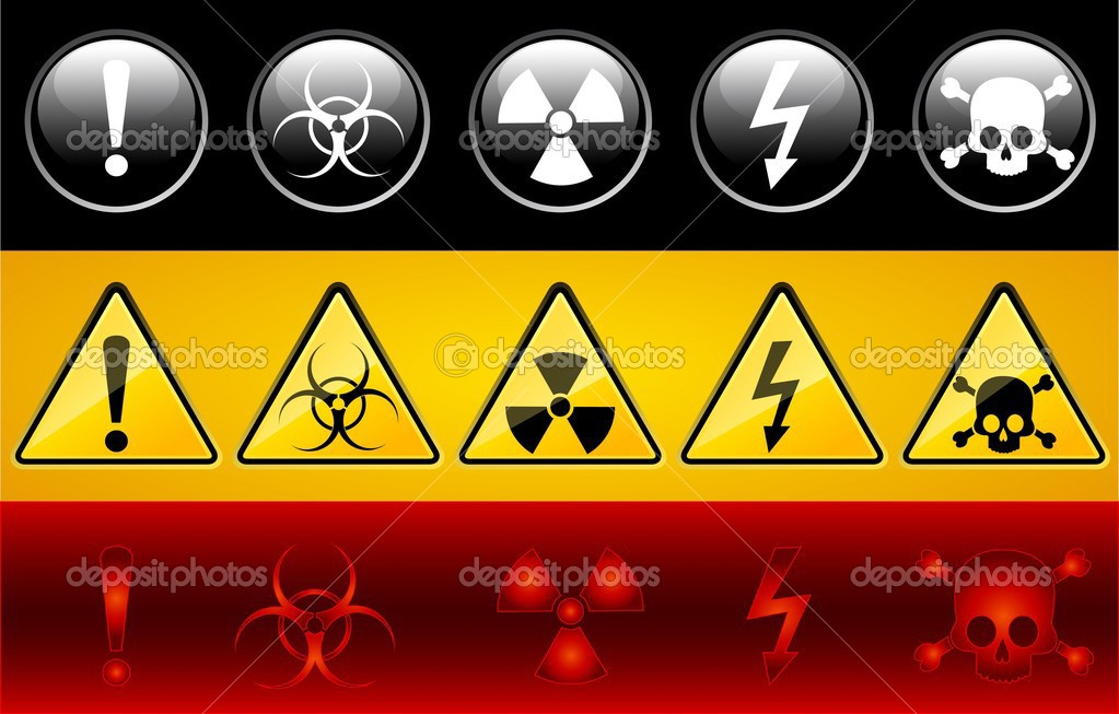 Set of icons of main warning symbols — Stock Vector #1087035
