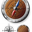 Detailed wooden compass - Stock Vector