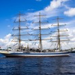 Stock Photo: White frigate on Nevriver