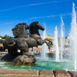 Iron horses fountain — Stock Photo
