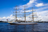 A white frigate on Neva river — Stock Photo