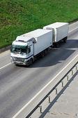 Bir karayolu üzerinde beyaz kamyon — Stok fotoğraf