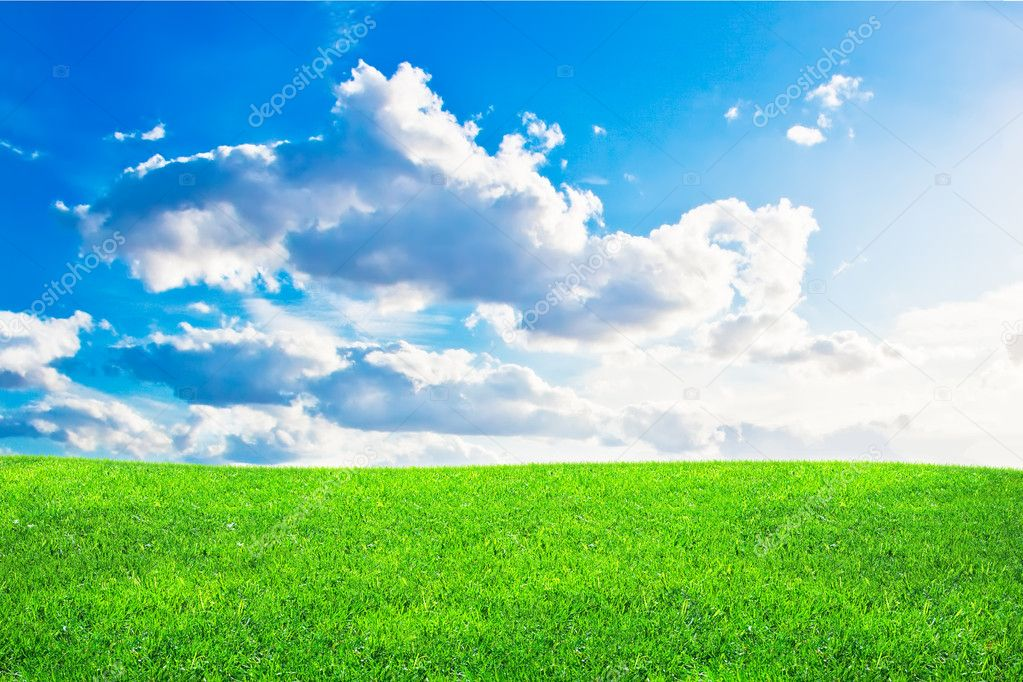 Blue Cloudy Sky Green grass and blue cloudy
