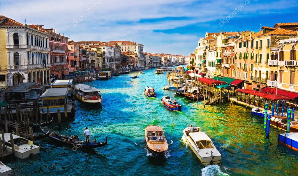 View of famous Grand Canal from Rialto bridge, Venice — Stok fotoğraf #1007616
