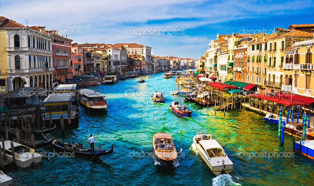 View of famous Grand Canal from Rialto bridge, Venice  Photo #1007616