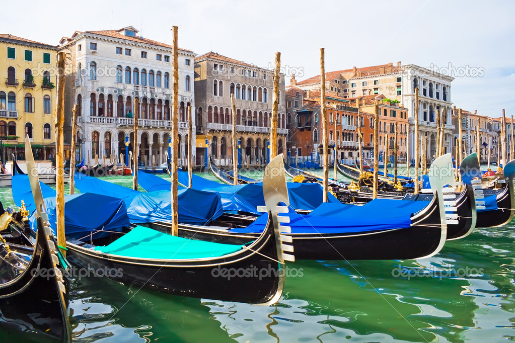 Gondola boats on Grand Canal in Venice, Italy  Photo #1007884