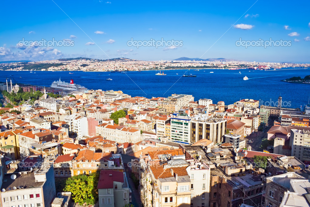 View from Galata tower to Bosphorus, Istanbul, Turkey  Stock Photo #1009505