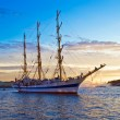Old frigate on Neva river - Stock Photo