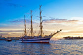 Old frigate on Neva river — Stock Photo