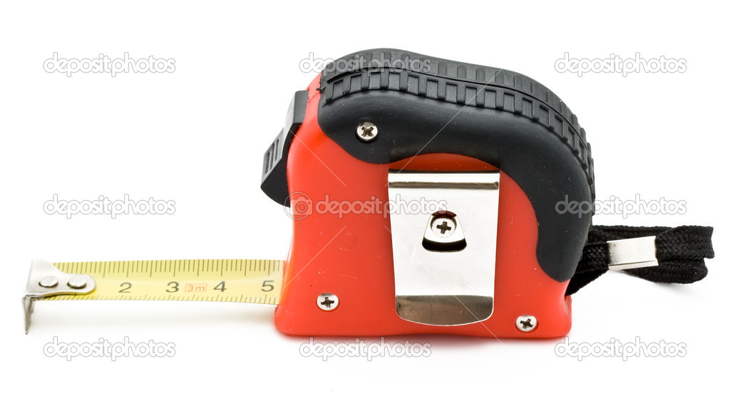 Red tape measure on white background — Stock Photo #1010027