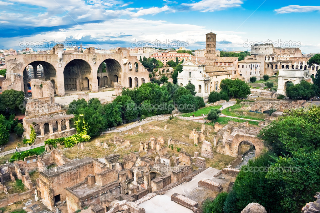 Ancient ruins of the Forum in Rome, Italy  Stock Photo #1010232