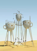 Surrealistic tea cups — Stock Photo