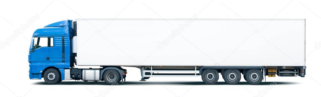 Blue semi truck pulling trailer, isolated on white.  — Stock Photo #1124899