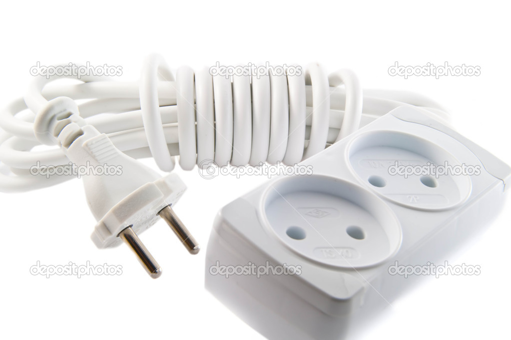 Outlet and connector on white background — Stock Photo #1356297