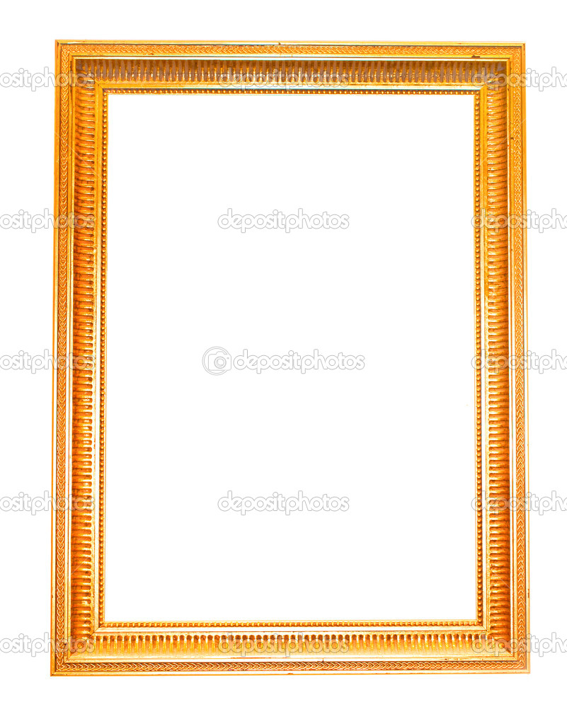 Vintage picture frame, gold plated, white background.  Baroque picture frame to put your own pictures in.  — Stock Photo #1614180